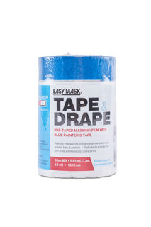 PRE-TAPED PLASTIC DROP CLOTH, 2' X 90' EASY MASK TAPE & DRAP