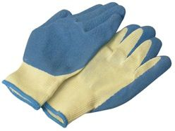 Knit Gloves With Rubber Palm, XL, 1 Pair, Blue Cuff
