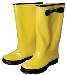 """OVER-THE-SHOE 17"""" BOOTS, SIZE 8, YELLOW"""