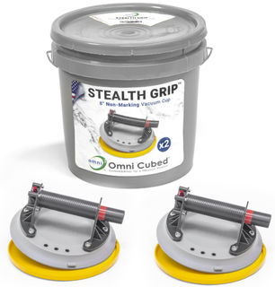"""Omni Cubed Stealth Grip, Gray 8"""" Vacuum Cups with Bucket"""