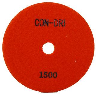 "Con-Dri Flexible Dry Concrete Pad 4"" 1500 Grit Orange Velcro"