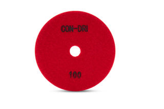 """Con-Dri Flexible Dry Concrete Pad 5"""" 100 Grit Red Velcro"""