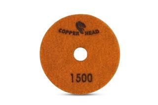 "Copperhead Copper Resin Pad 4"" 1500 Grit Orange Velcro"