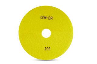 "Con-Dri Flexible Dry Concrete Pad 7"" 200 Grit Yellow Velcro"