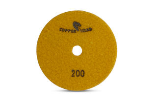 """Copperhead Copper Resin Pad 5"""" 200 Grit Yellow Velcro"""