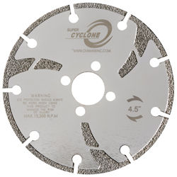 """Super Cyclone Electroplated Blade 6"""" 5/8""""-20mm-7/8"""" 4 Holes"""