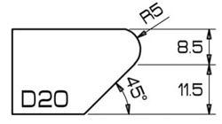 ADI UHS Profile D20 2cm 120 Series CNC Profile Wheels R=5mm