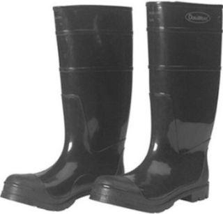 Black Steel Toe Rubber Boots, Size 8
