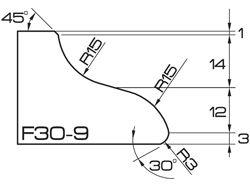 ADI UHS Profile F30-9 3cm 120 Series CNC Profile Wheels R=15mm