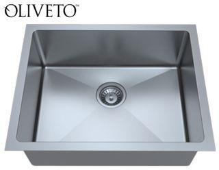 Oliveto Stainless Steel, 18 GA Sink R22 Radius, Single Bowl