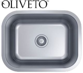 Oliveto Stainless Steel Sink 16 Ga Small Single Bowl
