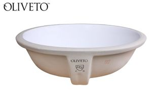 "Oliveto Porcelain Sink, White Oval, 14 3/4"" x 11 3/4"""