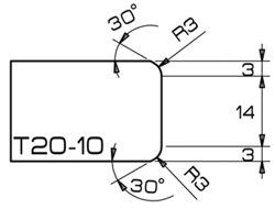 ADI Profile T20-10 2cm CNC Profile Whls. Dekton, 71 Dia. 35mm Bore, R=3mm