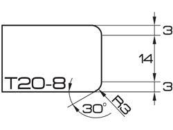 ADI UHS Profile T20-8 2cm 80 Series CNC Profile Wheels R=3mm